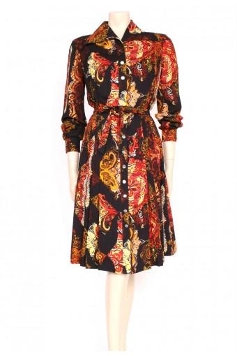 70's Autumn Paisley Shirt Dress