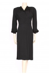 40's Black Crepe Dress