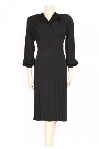 40's Black Crepe Dress