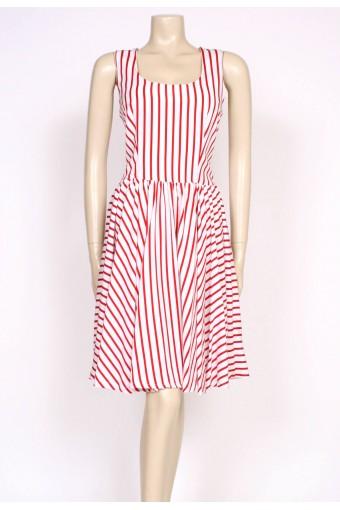80's red stripes sun dress
