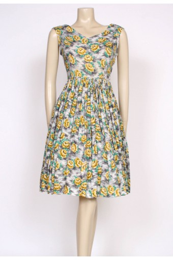 50's Yellow rose print dress