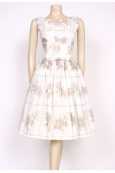 50's white printed dress