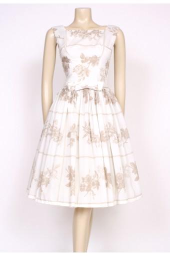 50's white printed dress