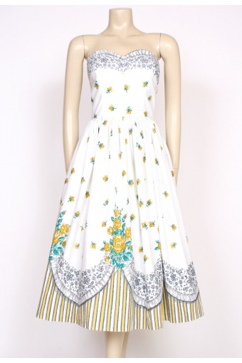 50's Blanes strapless print dress