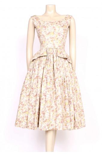 1950's heavy cotton print dress
