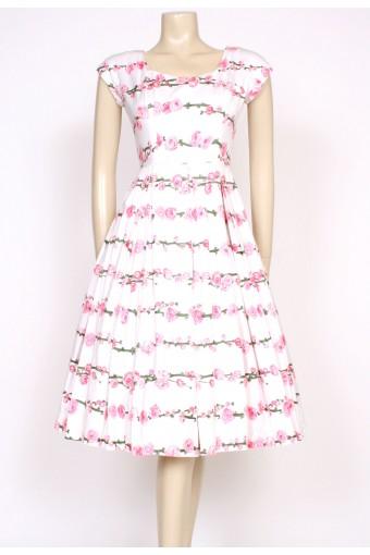 1950's pink blossom dress