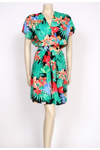 80's tropical playsuit