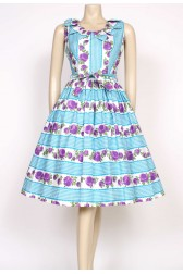 1950's purple rose dress