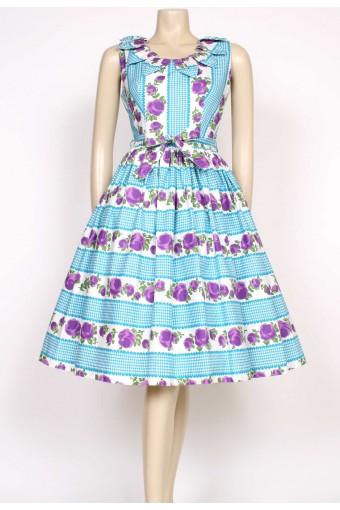 1950's purple rose dress