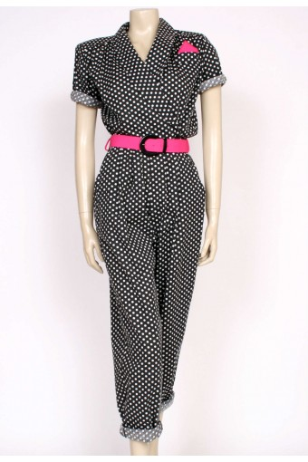 1980's polkadot jump suit