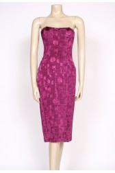 80's claret sheath party dress