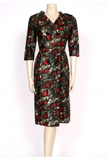 1950's abstract rose wiggle dress
