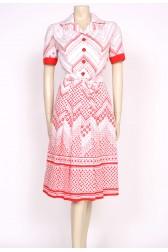 70's RED & WHITE SHIRT DRESS