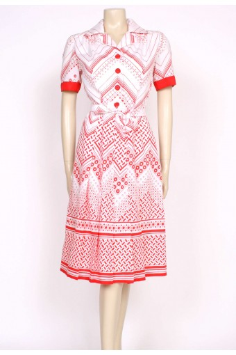 70's RED & WHITE SHIRT DRESS