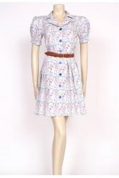 80's floral print shirt dress