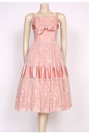 50's pink satin & lace prom dress