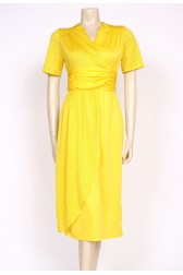 yellow 80's polkadot dress