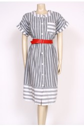 80's grey stripe dress