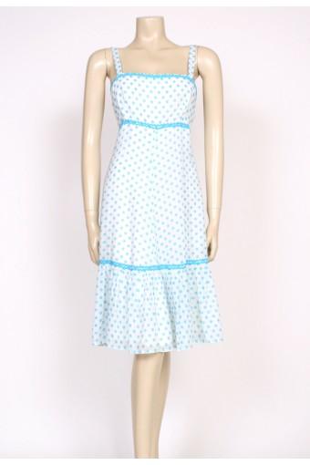 turquoise polkadots 70's dress