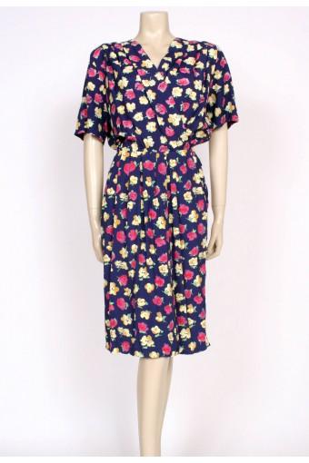 80's navy rose print tulip dress