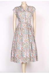 1950's paisley cotton tea dress