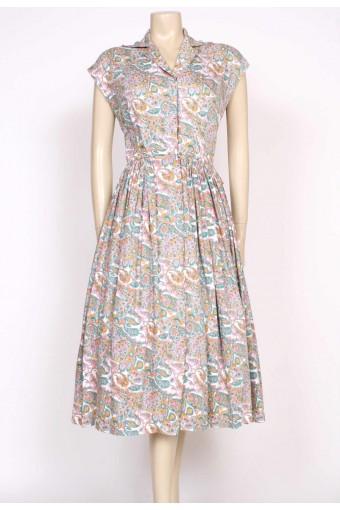 1950's paisley cotton tea dress