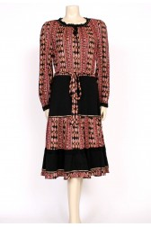 70's boho black brown dress