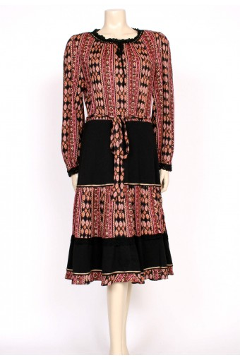 70's boho black brown dress