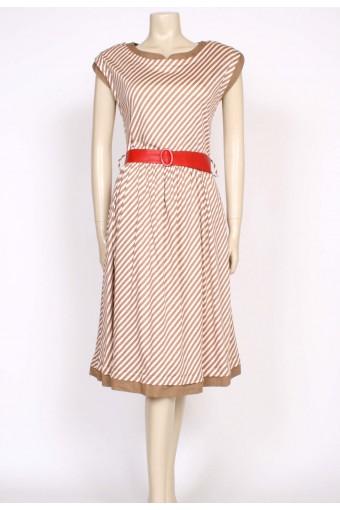 80's tan stripe dress