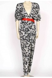 80's printed plunge front jumpsuit