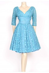 Turquoise lace 1950's prom dress