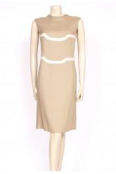 tan & cream 60's shift dress