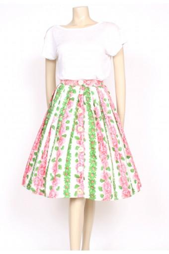 1950's rose print summer skirt