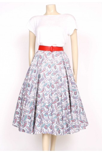 50's paisley printed full skirt