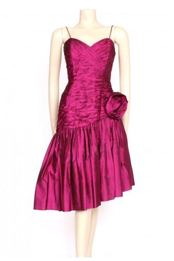 1980's pink silk ruffle party dress