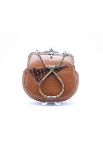 1920's leather wrist-cuff bag