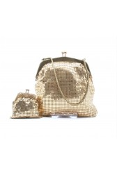 60's gold chainmail bag and purse