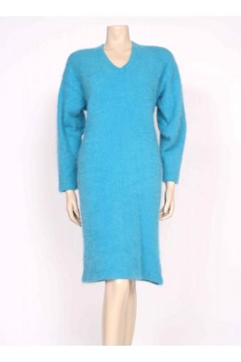 Turquoise Angora Jumper Dress