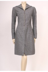 Zip-Up Wool Check Dress
