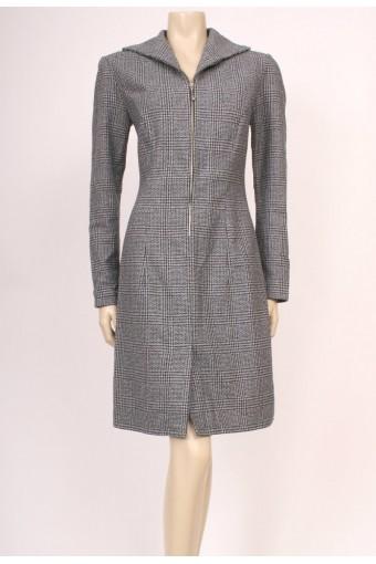 Zip-Up Wool Check Dress