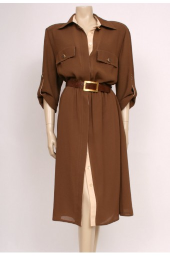 80's Brown Shirt Dress